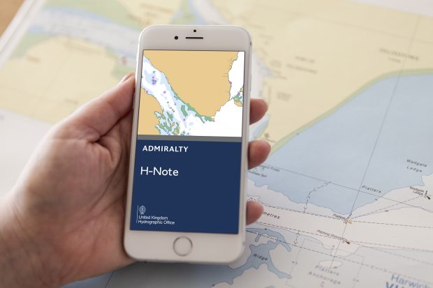 The ADMIRALTY H-Note App being displayed on a smartphone