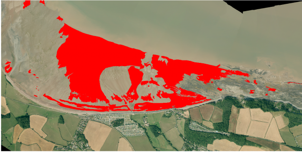 Satellite imagery of Blue Anchor in Somerset, with the areas of sand highlighted in red.