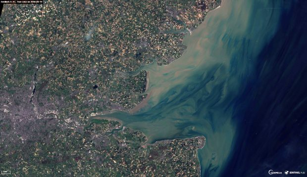 Satellite imagery of the Thames Estuary