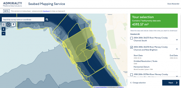 Screenshot of seabed mapping service