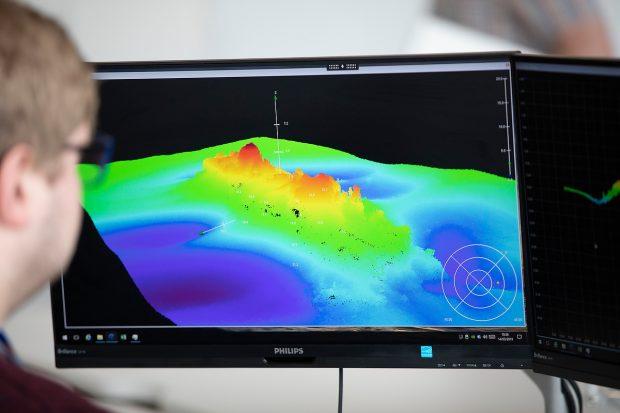 UKHO Staff analysing bathymetric data of a wreck