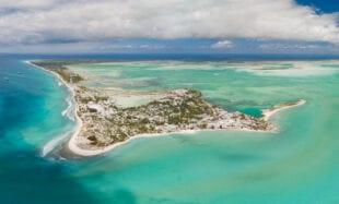 Panoramic aerial shot of Christmas Island and lagoon in Kiribati