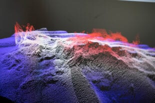 A digital visualisation of seabed mapping depicting shape and movement